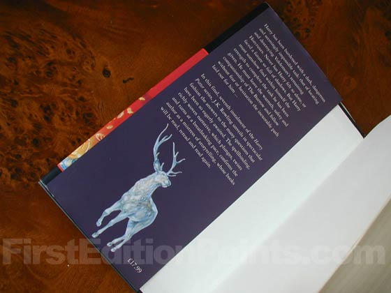 Picture of dust jacket where original £17.99 price is found for Harry Potter and