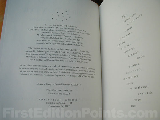Picture of the first edition copyright page for Harry Potter and the Deathly Hallows