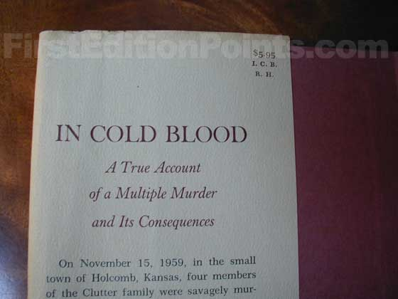 Picture of dust jacket where original $5.95  price is found for In Cold Blood.