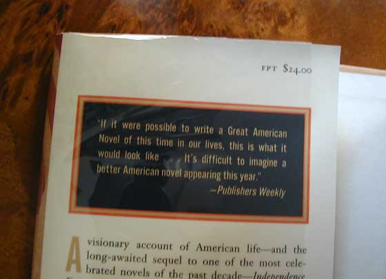 Picture of dust jacket where original $24.00 price is found for Independence Day.
