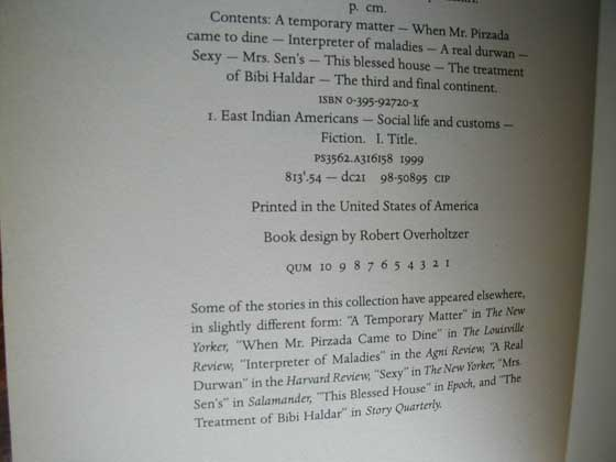 Picture of the first edition copyright page for Interpreter of Maladies.