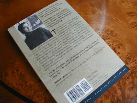 This photo show the back of the first edition of Interpreters of Maladies.