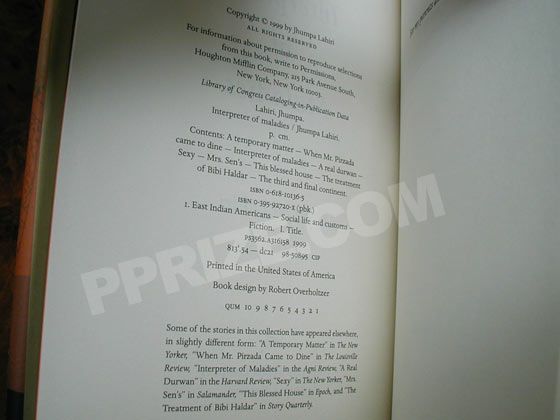 Picture of the copyright page from the first hardcover edition of Interpreter of