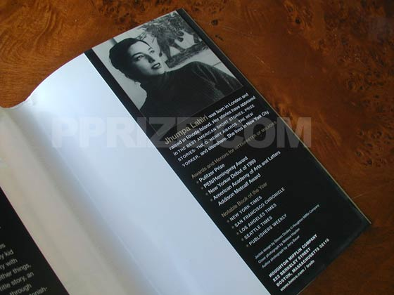 Picture of the back dust jacket flap from the first hardcover edition of Interpreter of
