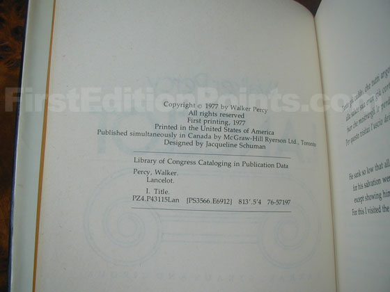 Picture of the first edition copyright page for Lancelot.