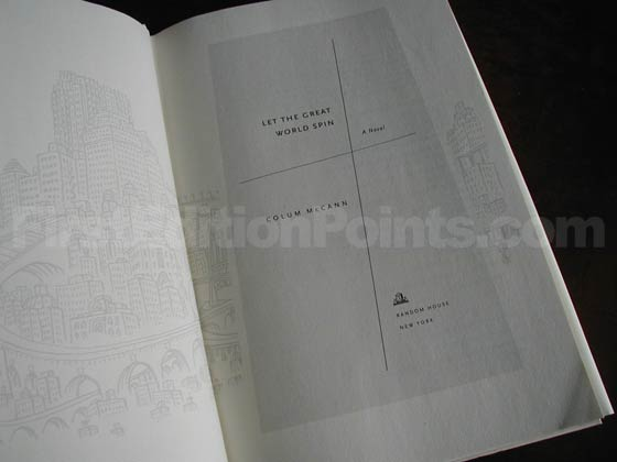 Picture of the first edition title page for Let the Great World Spin.