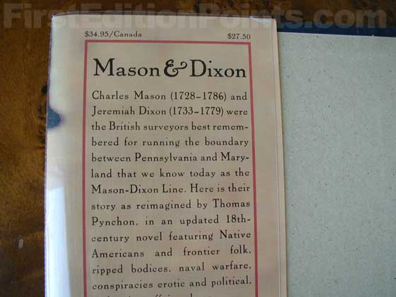 Picture of dust jacket where original $27.50 price is found for Mason & Dixon.
