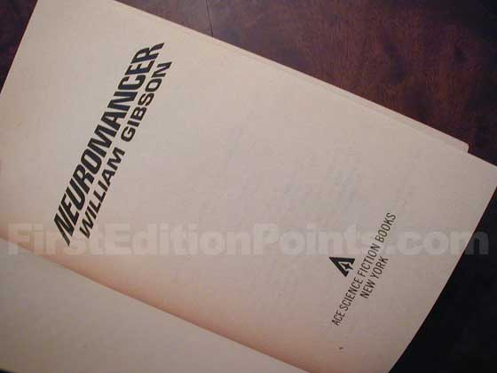 Picture of the title page from the true first edition of Neuromancer.