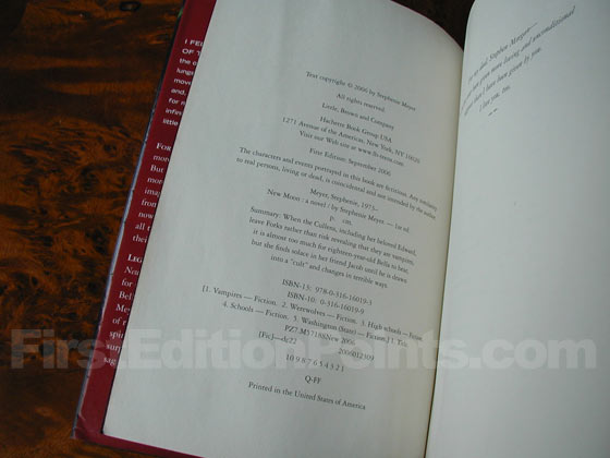 Picture of the first edition copyright page for New Moon.