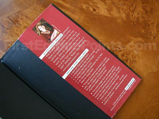 Picture of the back dust jacket flap for the first edition of New Moon.
