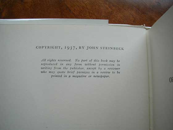 Picture of the first edition copyright page for Of Mice And Men.