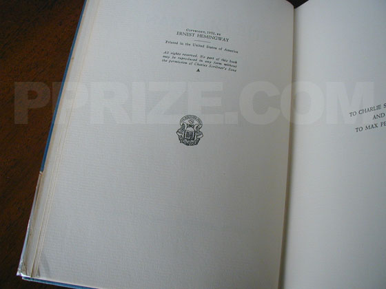 Picture of the first edition copyright page for The Old Man and the Sea.