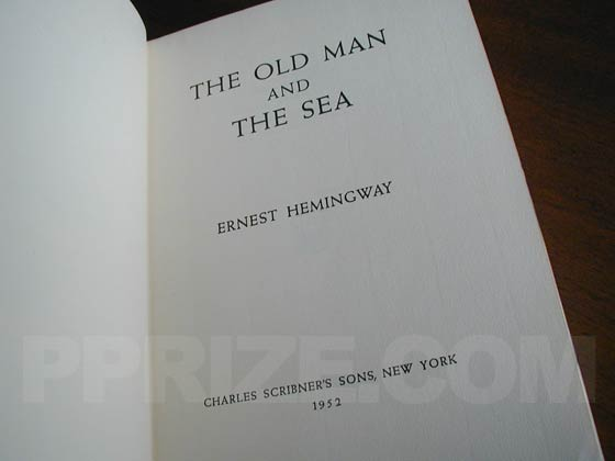 Picture of the first edition title page for The Old Man and the Sea.