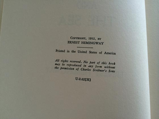 This copyright page is from a later 1962 printing of The Old Man and the Sea.