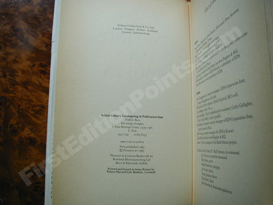 Picture of the first edition copyright page for On Wings of Eagles.