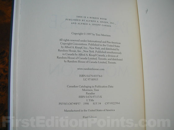 Picture of the first edition copyright page for Paradise.