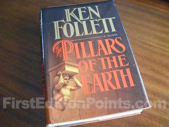 Picture of the first U.S. edition dust jacket for The Pillars of the Earth.