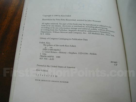 Picture of the first U.S. edition copyright page for The Pillars of the Earth.