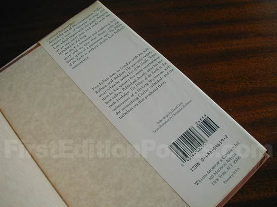 Picture of the back dust jacket flap for the first U.S. edition of The Pillars of the
