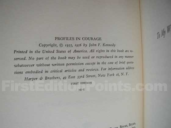 Picture of the first edition copyright page for Profiles In Courage.