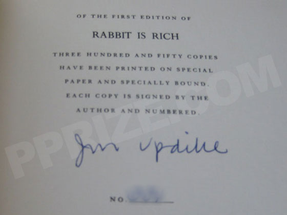 Picture of the signed and numbered page of the limited first edition of Rabbit is Ric