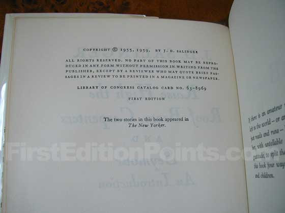Picture of the first edition copyright page for Raise High the Roof Beam.