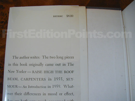Picture of dust jacket where original $4.00 price is found for Raise High the Roof Beam.