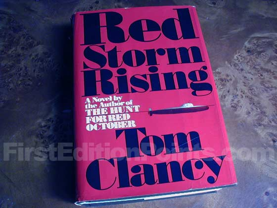 Picture of the 1986 first edition dust jacket for Red Storm Rising.