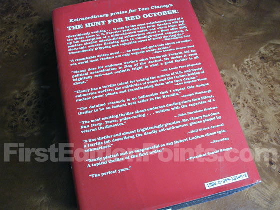 Picture of the back dust jacket for the first edition of Red Storm Rising.