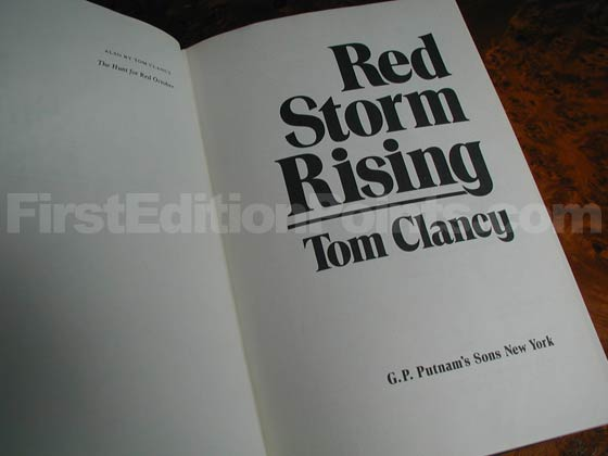 Picture of the first edition title page for Red Storm Rising.