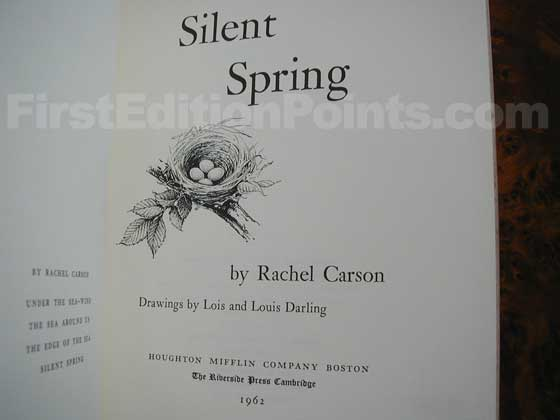 Picture of the first edition title page for Silent Spring.
