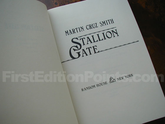 Picture of the first edition title page for Stallion Gate.