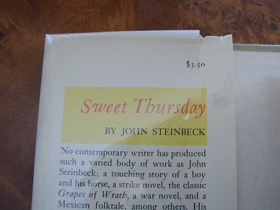 Picture of dust jacket where original $3.50  price is found for Sweet Thursday.