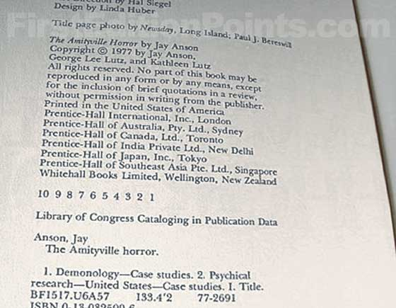 Picture of the first edition copyright page for The Amityville Horror.