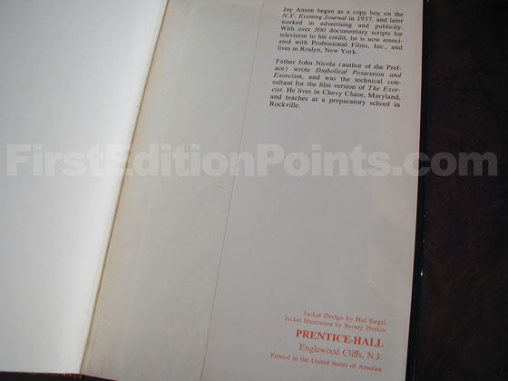Picture of the back dust jacket flap for the first edition of The Amityville Horror.