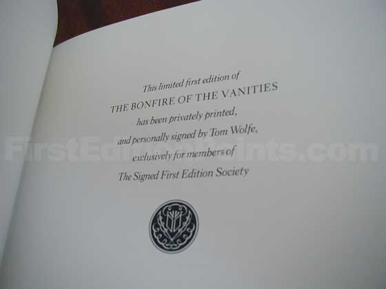 This page states that it is the limited first edition of The Bonfire of the Vanit