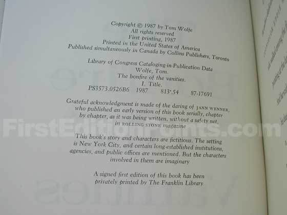 This is the copyright page from the first trade edition.  Notice the statement on the