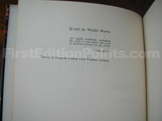 Picture of the first edition copyright page for The Field of Vision.