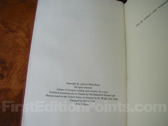 Picture of the first edition copyright page for The Fortunate Pilgrim.
