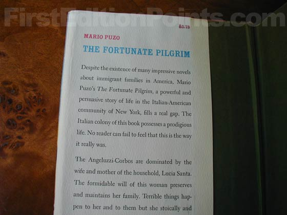 Picture of dust jacket where original $5.75 price is found for The Fortunate Pilgrim.