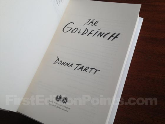 Picture of the title page for the first U.S. edition of The Goldfinch.