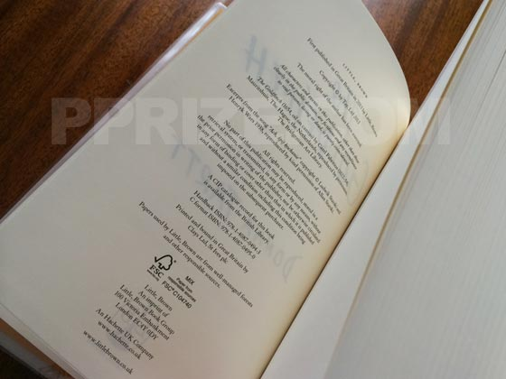 This is the copyright page from the deluxe limited-edition of the UK first edition. It is