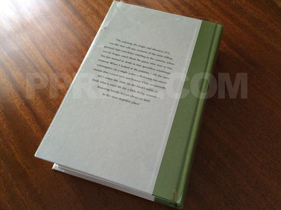 The back board of the UK deluxe limited-edition has a passage from the book - the main