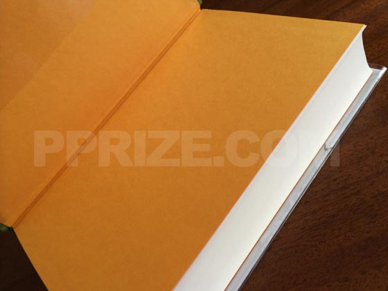 The UK deluxe limited-edition of The Goldfinch has orange end papers.