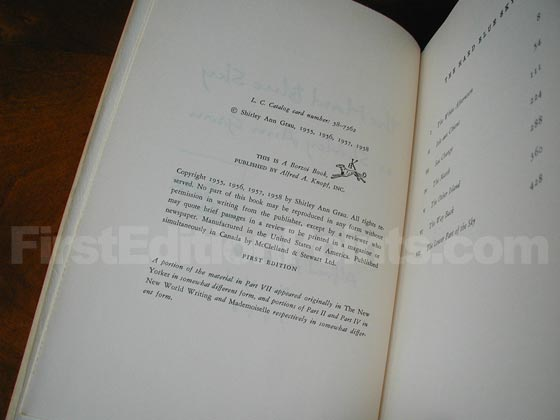 Picture of the first edition copyright page for The Hard Blue Sky.