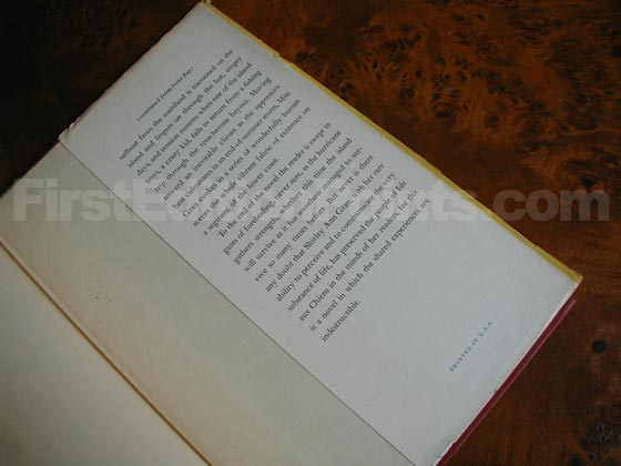 Picture of the back dust jacket flap for the first edition of The Hard Blue Sky.