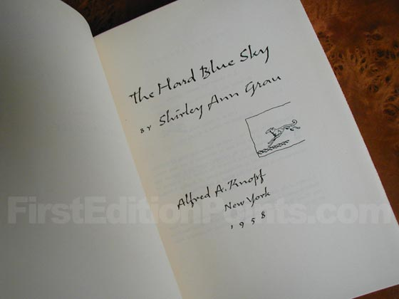 Picture of the first edition title page for The Hard Blue Sky.