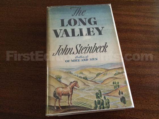 Picture of the 1938 first edition dust jacket for The Long Valley.