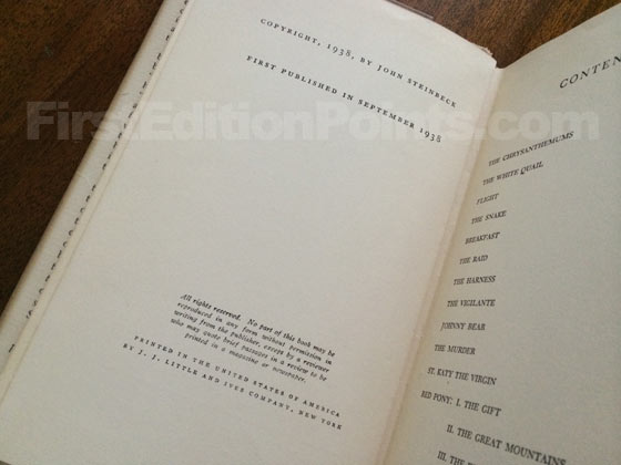 Picture of the first edition copyright page for The Long Valley.