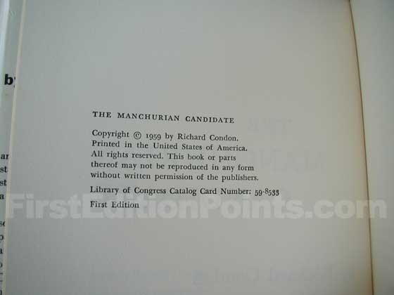 Picture of the first edition copyright page for The Manchurian Candidate.